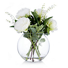 706300 - Peony Lily of the Valley & Peonies in Fishbowl