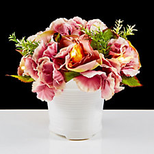 Bethlehem Lights Mauve Roses & Hydrangea Arrangement