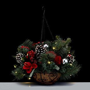 bethlehem lights battery operated pre lit led seasonal hanging basket. Black Bedroom Furniture Sets. Home Design Ideas