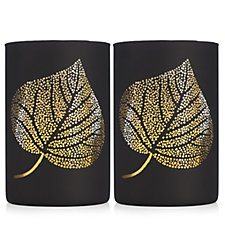Home Reflections Set of 2 Leaf Hurricanes with Flameless Candles