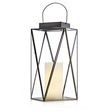 Home Reflections Faceted Lantern with LED Candle