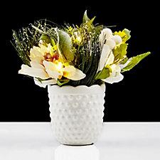 Bethlehem Lights Pre-lit LED Winter White Dahlia Arrangement in a Ceramic Vase