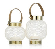Home Reflections Set of 2 Gold Lustre Lanterns with LED Candles
