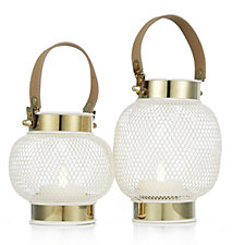 705707 - Home Reflections Set of 2 Gold Lustre Lanterns with LED Candles