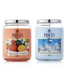 Price's Candles Set of 2 Seasonal Large Jars