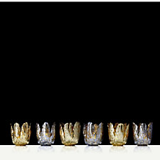 Home Reflections Set of 6 Floral Petal Mercury Glass Votive Holders