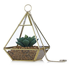 Home Reflections Terrarium with Faux Succulent Glass Geometric Decor