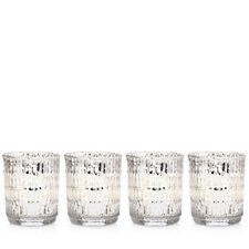 Alison Cork Set of 4 Mercury Glass Votives with LED Candles