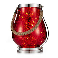 704714 - Bella Notte Indoor/Outdoor Mecury Glass Lantern with LED Light Strand