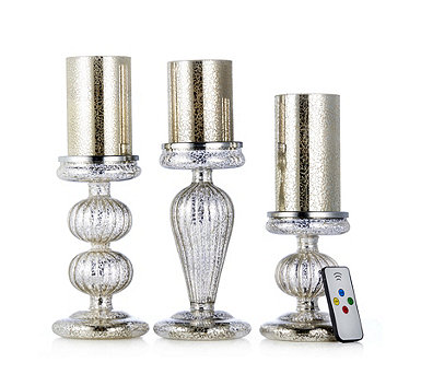 Home Reflections Set of 3 Mercury Glass Candles & Holders with Remote - 705814