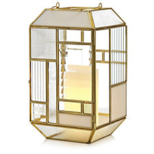 Home Reflections Glass Panel Indoor Lantern with LED Candle