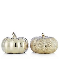 Home Reflections Set of 2 Decorative Porcelain Pumpkins