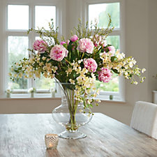 Peony Hydrangeas Peonies & Foliage in a Large Footed Vase