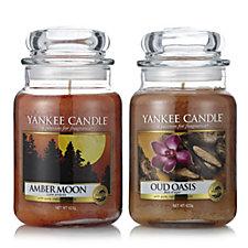 Yankee Candle Set of 2 Amber Moon & Oud Oasis Large Jars