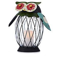 Bella Notte Indoor/Outdoor Flameless Garden Critters Glass Owl
