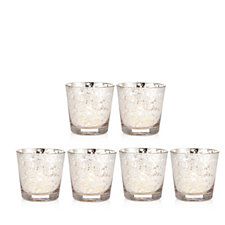 Home Reflections Set of 6 Mercury Glass Votives with LED Candles