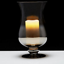 Home Reflections 30cm Glass Hurricane Candle Holder with LED Candle