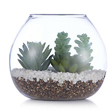 Home Reflections Glass Bowl with Faux Succulent