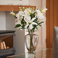 707420 - Peony Casablanca Lilies Dahlias & Stephanosis in a Smoked Tall Vase