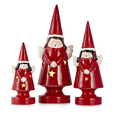 Mr Christmas Set of 3 Porcelain Light Up Ornaments