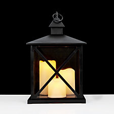704921 - Home Reflections Square Lantern with 3 LED Pillar Candles