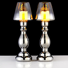 705421 - Home Reflections Set of 2 Glass Lamps with LED Candles