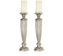 Alison Cork Set of 2 Tall Elegance Candle Holders with Flameless Candles - 705722