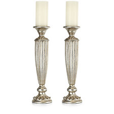Alison Cork Set of 2 Tall Elegance Candle Holders with Flameless Candles
