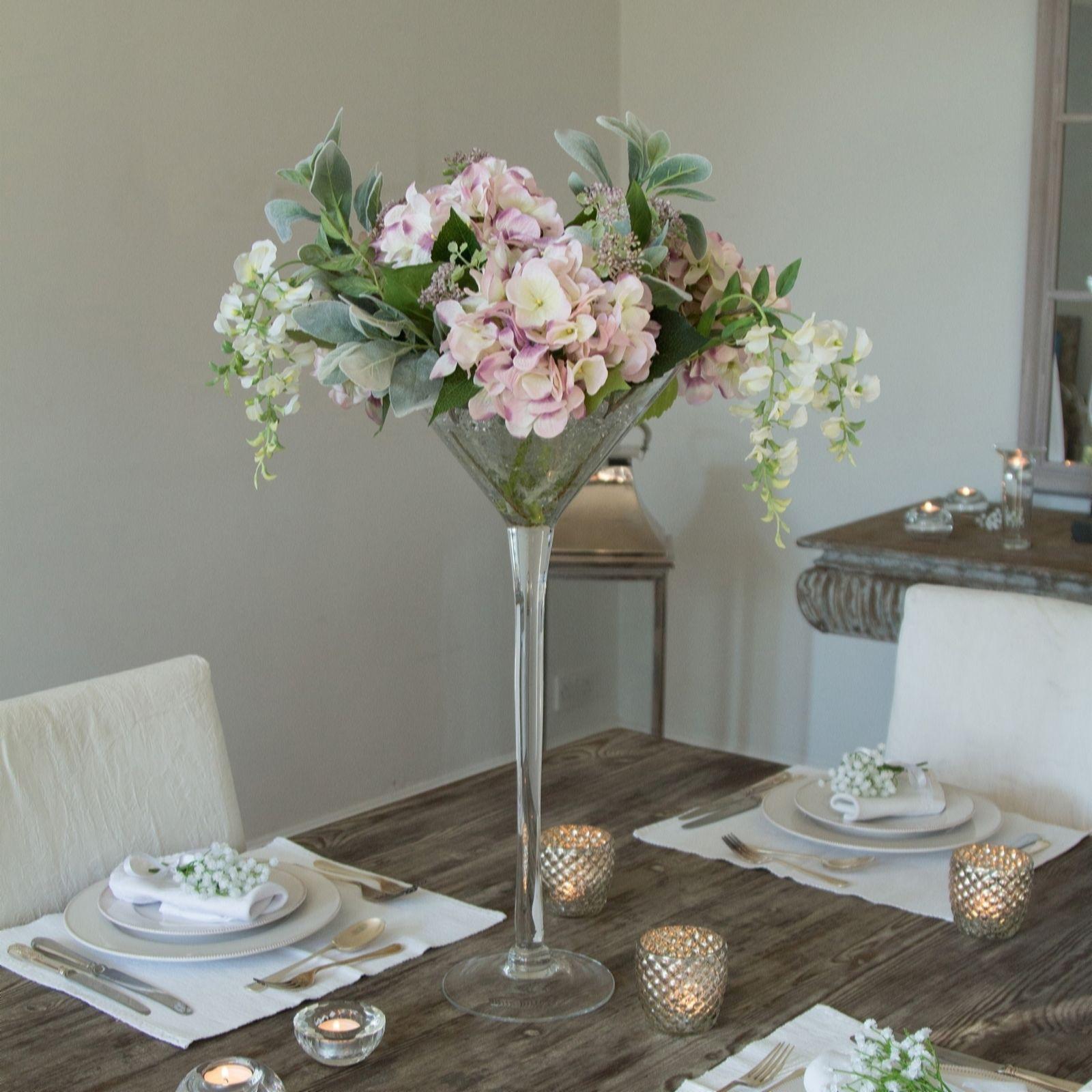 Peony Hydrangeas Lambs Ear Leaf & Wisteria in a Martini Vase QVC UK