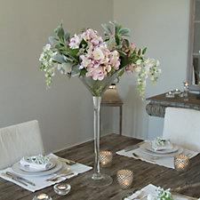 Peony Hydrangeas Lambs Ear Leaf & Wisteria in a Martini Vase