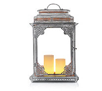 Alison Cork Decorative Metal Lantern with 2 Flameless Candles - 704523
