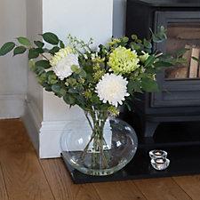 707423 - Peony Chrysanthemums & Foliage in Lipped Fishbowl