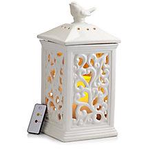 Bella Notte Ceramic Scroll Design Lantern w/ Flameless Candle Timer & Remote