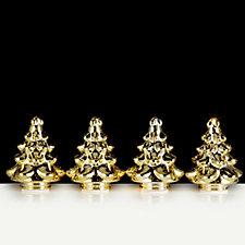 Mr Christmas Set of 4 Pre-lit Mercury Glass Christmas Trees