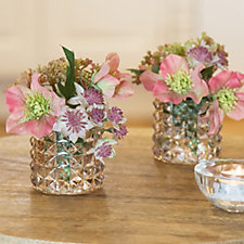 Peony Set of 2 Hellebores in Textured Glass Vases w/ Giftbags