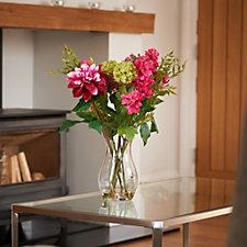 707425 - Peony Dahlias Cone Hydrangeas & Achellia in Sweetheart Vase