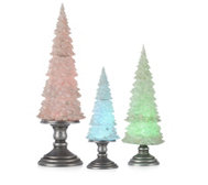 Home Reflections Set of 3 Glitter LED Trees
