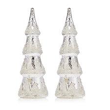 Alison Cork Set of 2 Mercury Glass Embellished LED Glass Trees