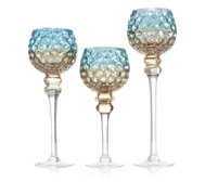 Home Reflections Set of 3 Glass Stemmed Holders with LED Tea-lights