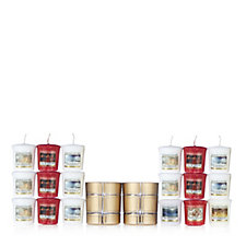 Yankee Candle 20 Piece Christmas Votive Collection w/Golden Holders