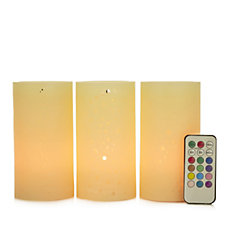 Set of 3 Colour Changing Flameless Candles with Remote Control