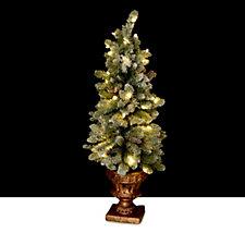 Bethlehem Lights Pre-lit LED White Flocked Sherwood Urn Tree