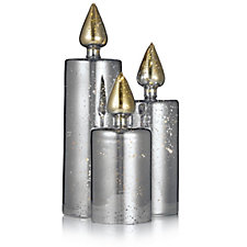 704829 - Mr Christmas Set of 3 Pre-lit LED Mercury Glass Candles