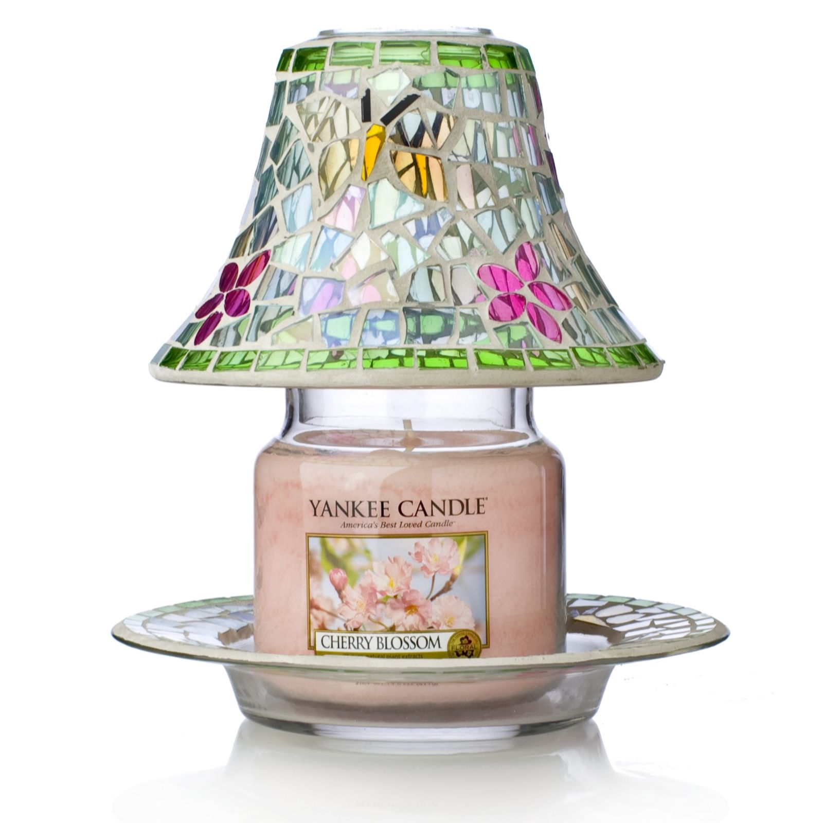 Yankee candle butterfly shade plate with medium candle qvc uk mozeypictures Gallery