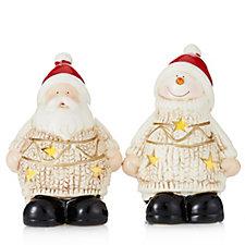 Santa Express Set of 2 Santa & Snowman Holders with Flameless T-lights