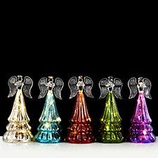 Mr Christmas Set of 5 Mercury Glass Pre-lit Angels