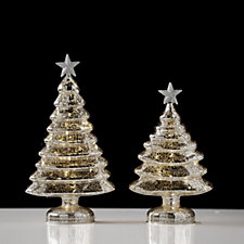 704930 - Home Reflections Set of 2 LED Champagne Mercury Glass Tree Ornaments