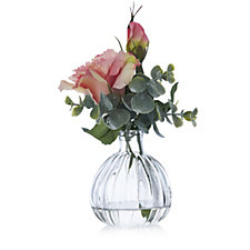 707430 - Peony Lisianthus & Eucalyptus in Small Optic Vase