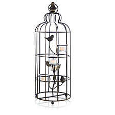 Home Reflections Hanging Birdcage T-light Holder with 4 Glass Holders