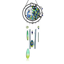 Feng Shui Peacock Stained Glass Windchime